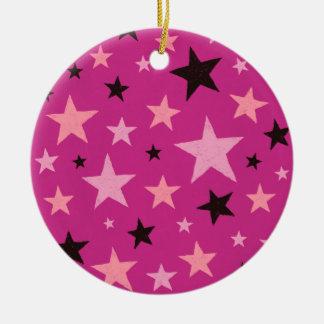 Pink Stars Pattern 2 Ceramic Ornament