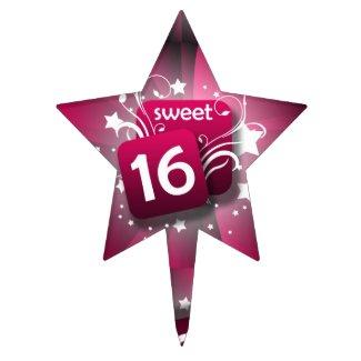 Pink Stars/Swirls Sweet 16 Cake Topper