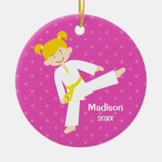 Pink Stars Taekwondo Blonde Girl Personalized Double-Sided Ceramic Round Christmas Ornament