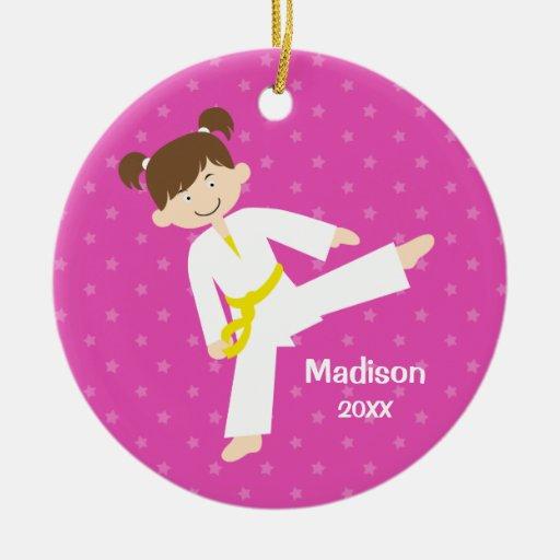 Pink Stars Taekwondo Karate Girl Personalized Double-sided Ceramic Round Christmas Ornament