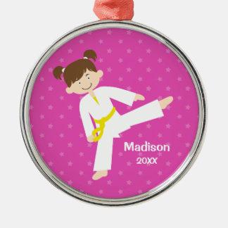 Pink Stars Taekwondo Karate Girl Personalized Metal Ornament