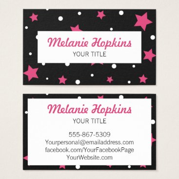 Professional Business Pink Stars with White Dots Scroll Business Card