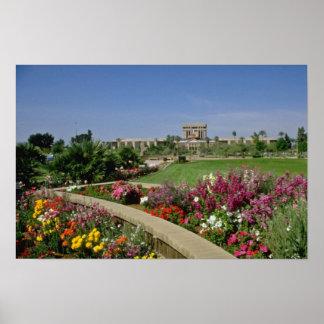 Pink State capitol, flower gardens, Phoenix, Arizo Poster