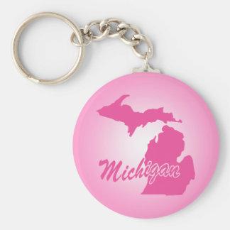 Pink State Michigan Key Chains