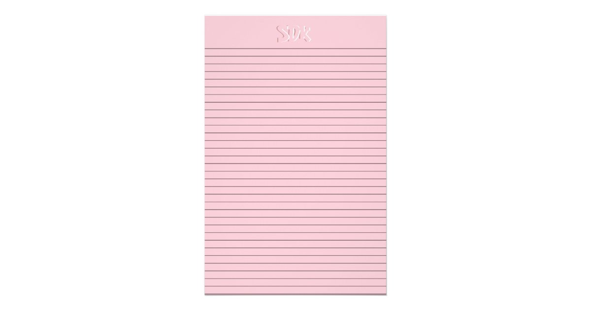 Pink Stationery Paper Monogram optional lines – Stationery Paper with Lines