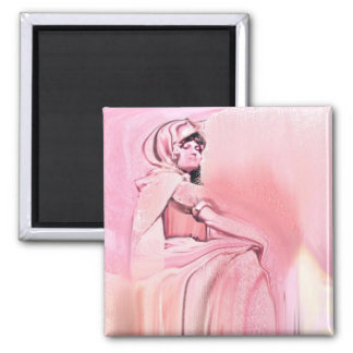 Pink statue 2 inch square magnet