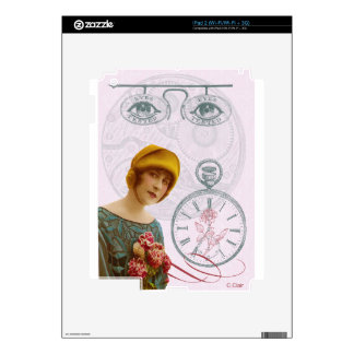 Pink Steam Punk Lady Eyes Decals For iPad 2