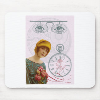 Pink Steam Punk Lady Eyes Mouse Pad