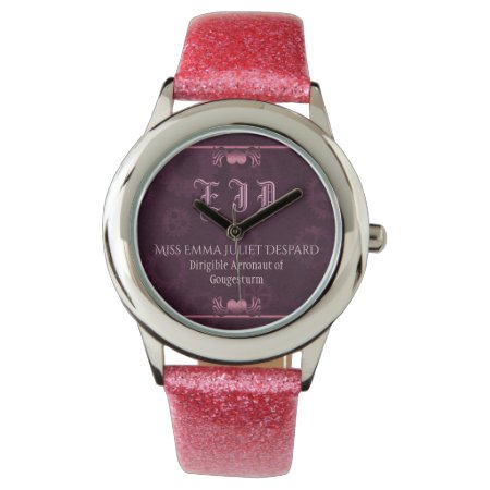 Pink Steampunk Monogram, metallic hearts, cogs Wristwatches