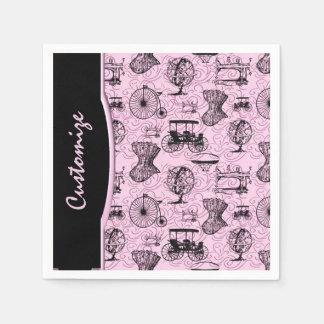 Pink Steampunk Pattern Napkins