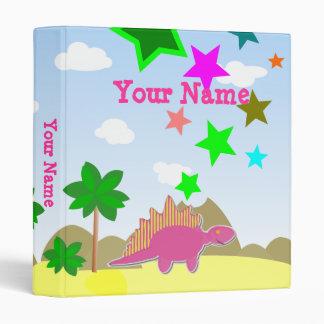 Pink Stegosaurus Cute Dino Cartoon Binder