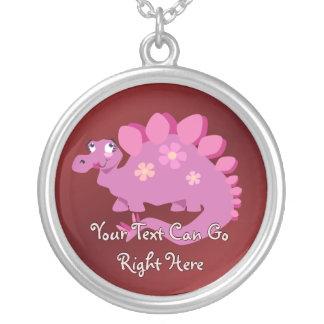 Pink Stegosaurus Necklace