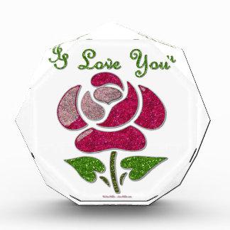 Pink Stencil Rose I Love You Award