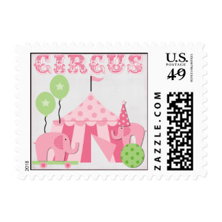Pink Step Right Up Circus Postage Stamps