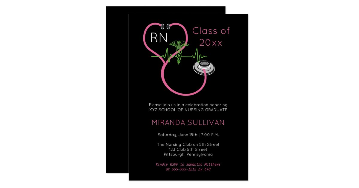 medical or nursing school graduation party invitation personalized