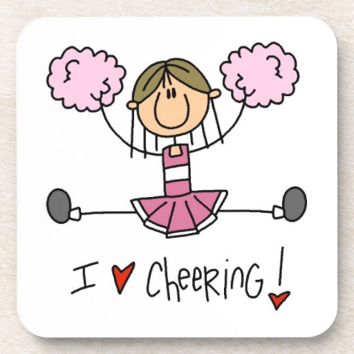 Pink Stick Figure Cheerleader T-shirts and Gifts Beverage Coaster