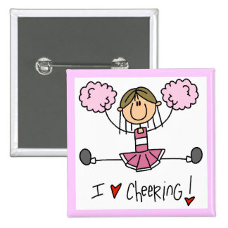 Pink Stick Figure Cheerleader T-shirts and Gifts Pinback Button