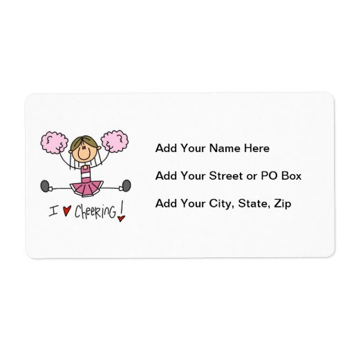 Pink Stick Figure Cheerleader T-shirts and Gifts Custom Shipping Label