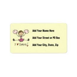 Pink Stick Figure Cheerleader T-shirts and Gifts Label