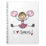 Pink Stick Figure Cheerleader T-shirts and Gifts Notebooks