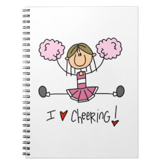 Pink Stick Figure Cheerleader T-shirts and Gifts Notebook