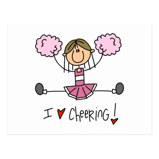 Pink Stick Figure Cheerleader T-shirts and Gifts Postcard