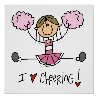 Pink Stick Figure Cheerleader T-shirts and Gifts Posters