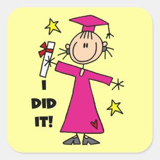 Pink Stick Figure Girl Graduate Square Sticker