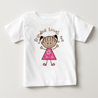 Pink Stick Girl Grandma Loves Me Baby T-Shirt