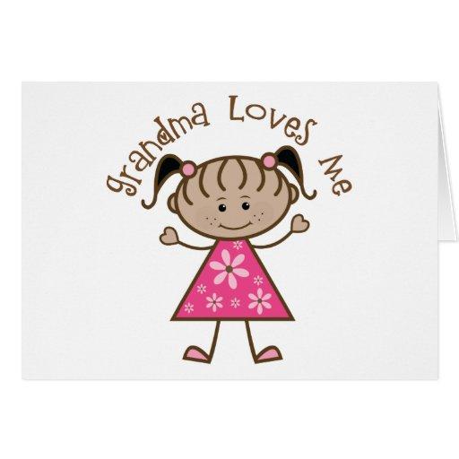 Pink Stick Girl Grandma Loves Me Greeting Cards