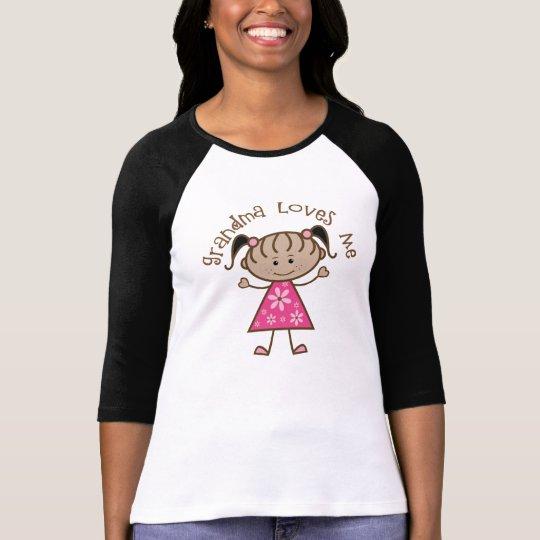 Pink Stick Girl Grandma Loves Me T-Shirt