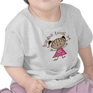 Pink Stick Girl Grandma Loves Me Shirt
