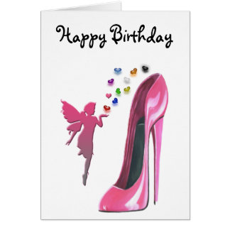 Pink Stiletto and Fairy with 3D Hearts Greeting Card