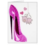 Pink Stiletto and Flying Pig Art Greeting Cards