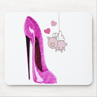 Pink Stiletto and Flying Pig Art Mouse Pad