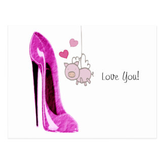 Pink Stiletto and Flying Pig Art Postcard