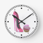 Pink Stiletto and Hearts Cupcake Wall Clock