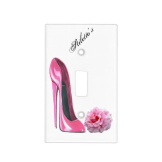 Pink Stiletto and Rose Light Switch Cover