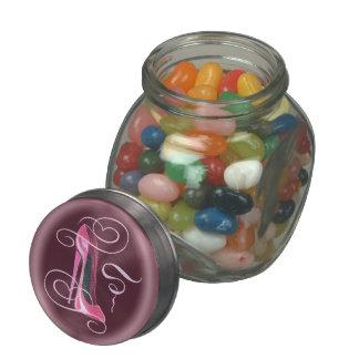 Pink Stiletto and Swirls Art Jelly Bean Jar Glass Candy Jars