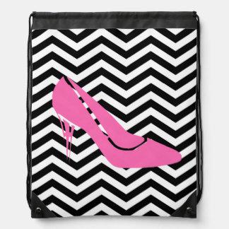 Pink Stiletto Drawstring Backpack