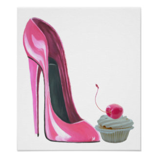 Pink Stiletto High Heel Shoe and Cherry Cupcake Po Poster