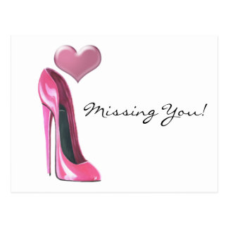 Pink stiletto high heel shoe and Heart Post Cards