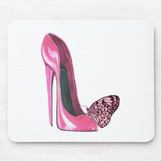 Pink Stiletto Shoe and Butterfly Mouse Pad
