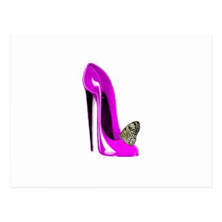 Pink Stiletto Shoe and butterfly Postcard