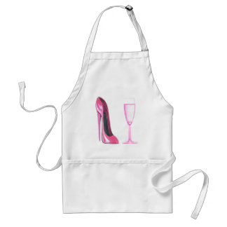 Pink Stiletto Shoe and Champagne Glass Adult Apron