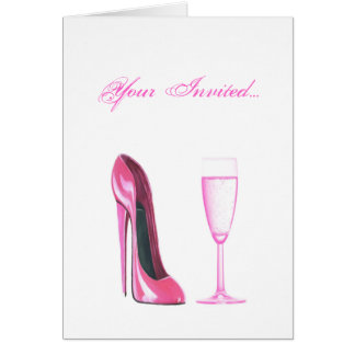 Pink Stiletto Shoe and Champagne Glass Card