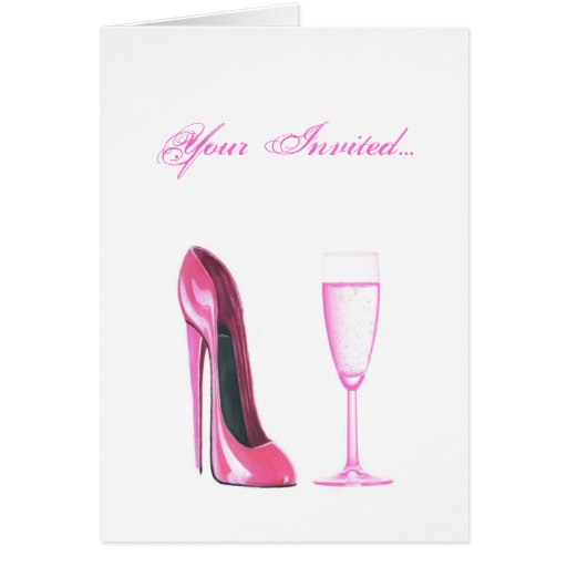 Pink Stiletto Shoe and Champagne Glass Greeting Card