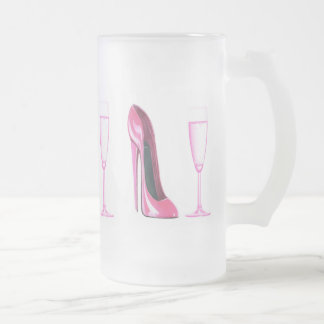 Pink Stiletto Shoe and Champagne Glass Frosted Glass Beer Mug