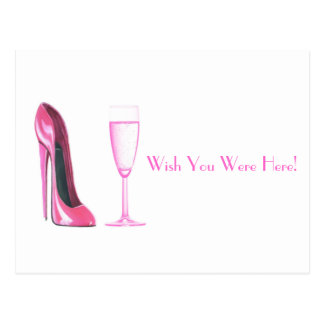 Pink Stiletto Shoe and Champagne Glass Postcard