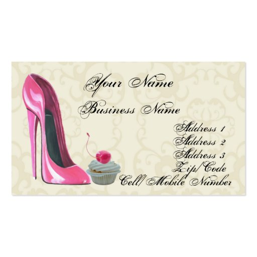 Pink Stiletto Shoe and Cupcake Business Card